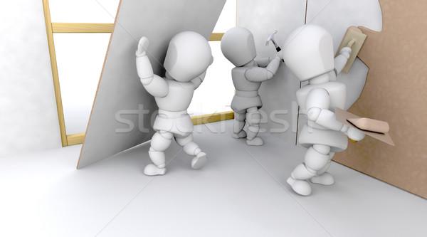 3D 建設 チーム チーム作り 家 孤立した ストックフォト © kjpargeter