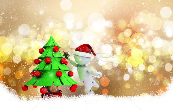 Christmas background with 3d morph man Stock photo © kjpargeter