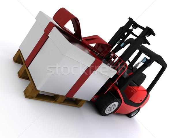 Targonca teherautó karácsony ajándék doboz 3d render ajándék Stock fotó © kjpargeter