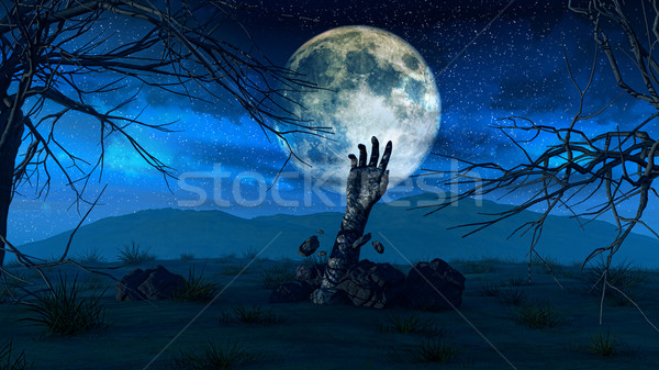 Halloween background with zombie hand Stock photo © kjpargeter