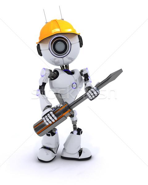 Robot constructeur tournevis rendu 3d homme construction Photo stock © kjpargeter