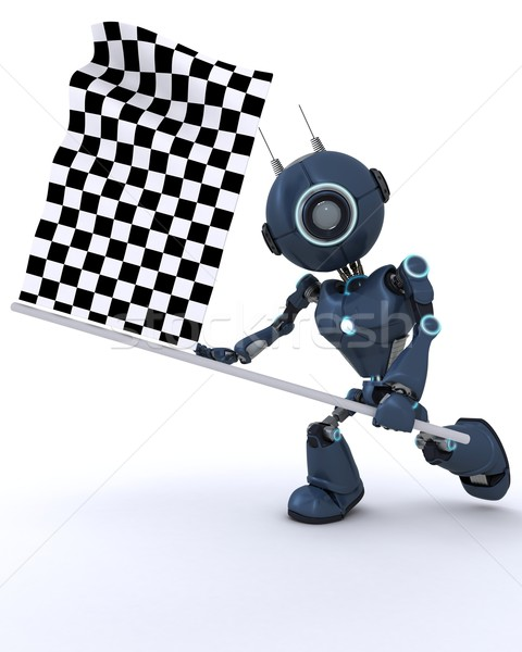 Android waving chequered flag Stock photo © kjpargeter