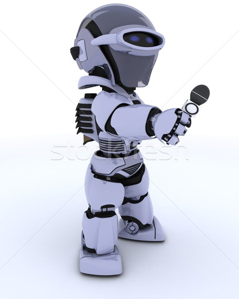 Robot reporter with a microphone Stock photo © kjpargeter