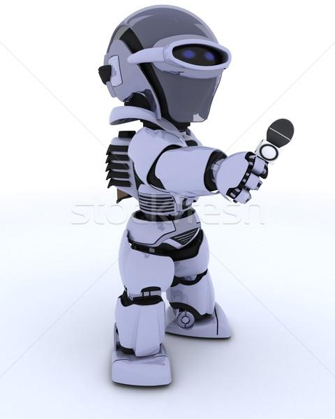 Robot journaliste micro rendu 3d avenir médias Photo stock © kjpargeter
