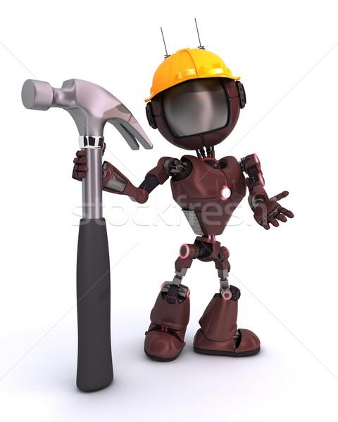 Android kalapács 3d render férfi építkezés szerszám Stock fotó © kjpargeter