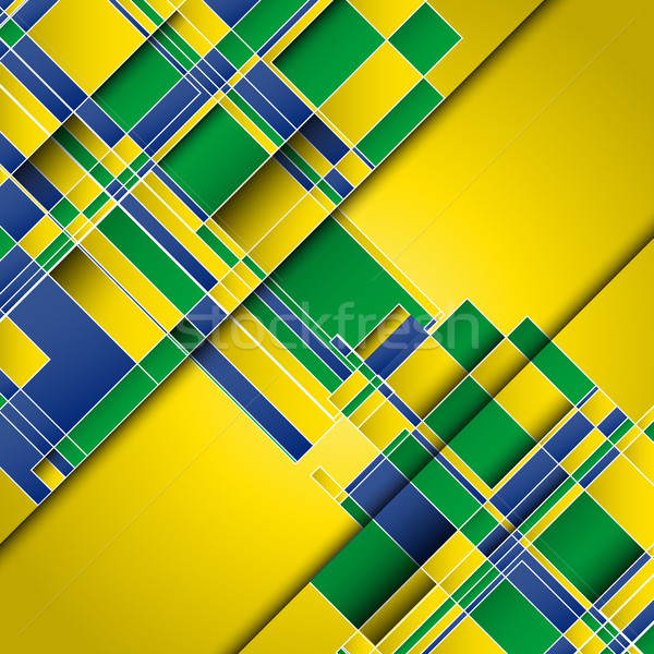 Absztrakt Brazília zászló színek terv futball Stock fotó © kjpargeter