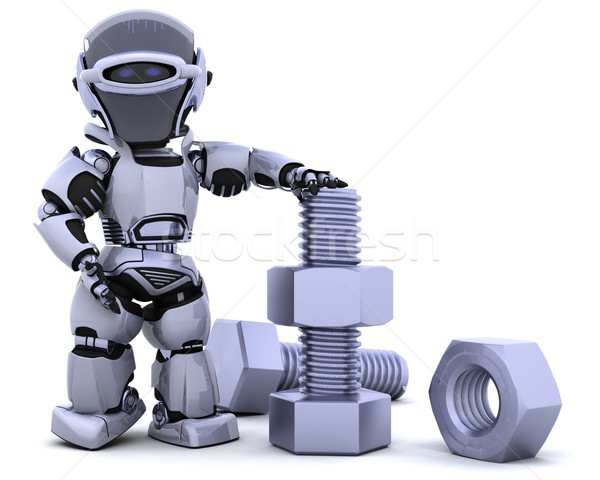 robot with nut and bolt Stock photo © kjpargeter