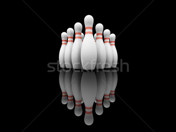 Bowling 3d pojęcia 3D odizolowany oddać Zdjęcia stock © kjpargeter