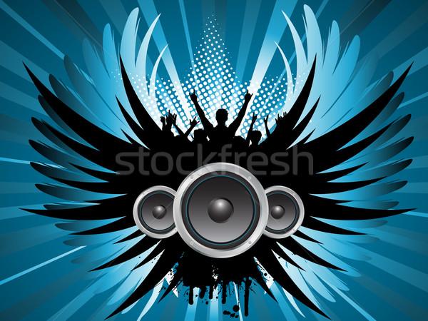 ストックフォト: グランジ · パーティ · シルエット · 興奮した · 群衆 · 音楽