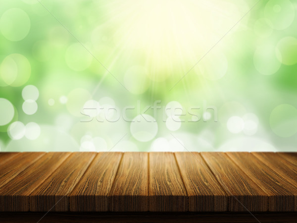 Wooden table with defocussed background Stock photo © kjpargeter