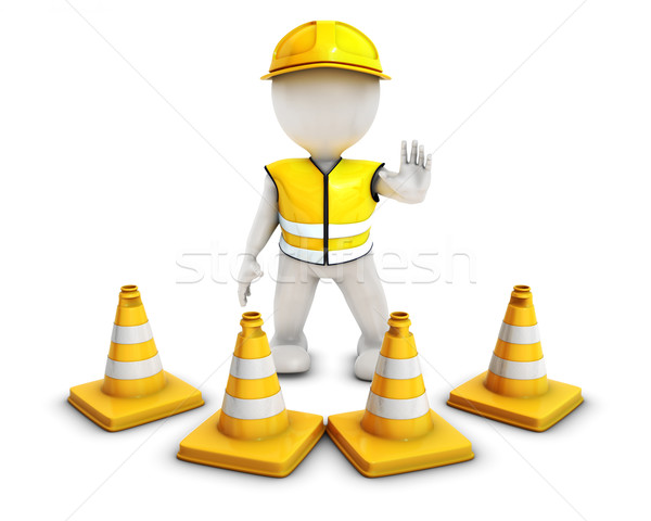 3D Morph Man Builder with Caution Cones Stock photo © kjpargeter