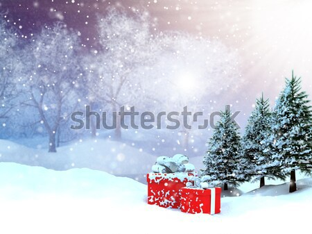 Christmas background with cute reindeer Stock photo © kjpargeter