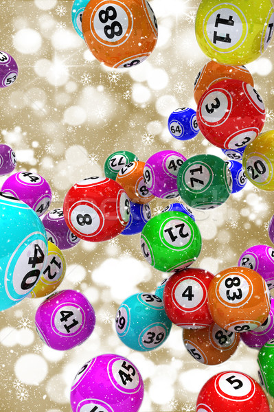 Christmas bingo goud vallen 3D Stockfoto © kjpargeter