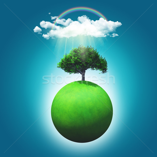 3D render of a grassy globe with a tree, rainbow and raincloud Stock photo © kjpargeter
