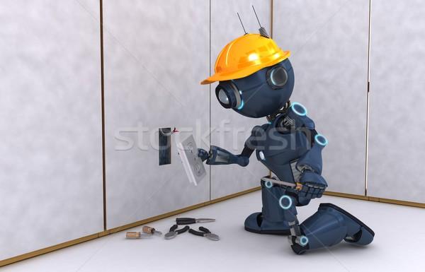 Android elettriche imprenditore rendering 3d elettricista tecnologia Foto d'archivio © kjpargeter