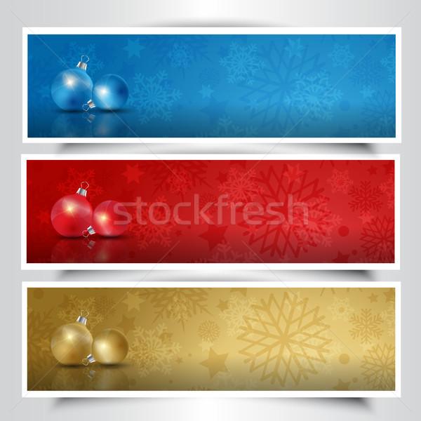 Christmas cacko inny kolory śniegu tle Zdjęcia stock © kjpargeter