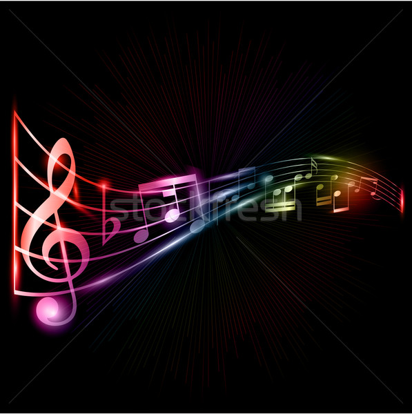 Neón notas musicales resumen estilo efecto música Foto stock © kjpargeter