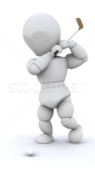 Stockfoto: 3d · man · spelen · golf · geïsoleerd · witte · man