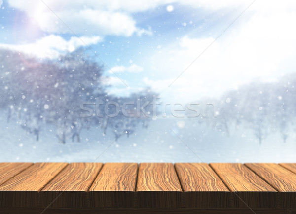 3D wooden table with defocussed snowy landscape Stock photo © kjpargeter