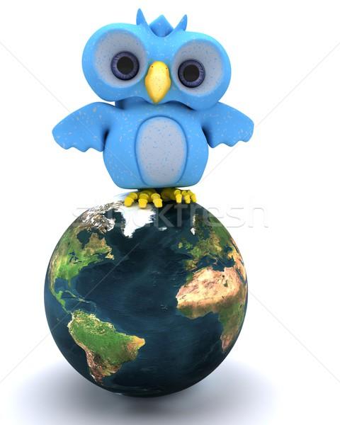 Cute синий птица характер 3d визуализации Сток-фото © kjpargeter