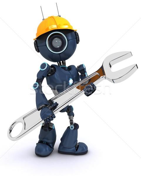 Android oluşturucu İngiliz anahtarı vermek çalışmak robot Stok fotoğraf © kjpargeter