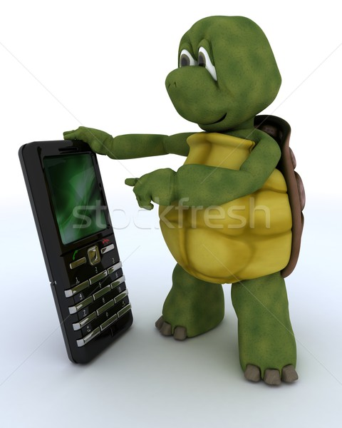 tortoise with a smart phone Stock photo © kjpargeter
