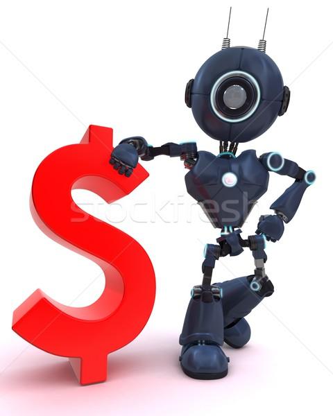 Android dollárjel 3d render technológia pénzügy robot Stock fotó © kjpargeter