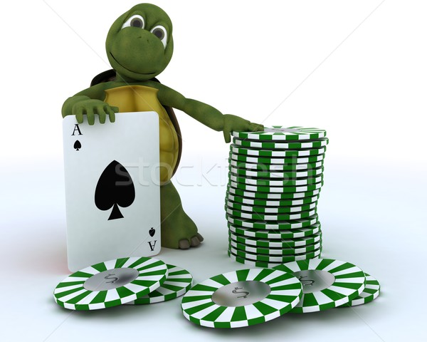 tortoise with casino cards and chips Stock photo © kjpargeter