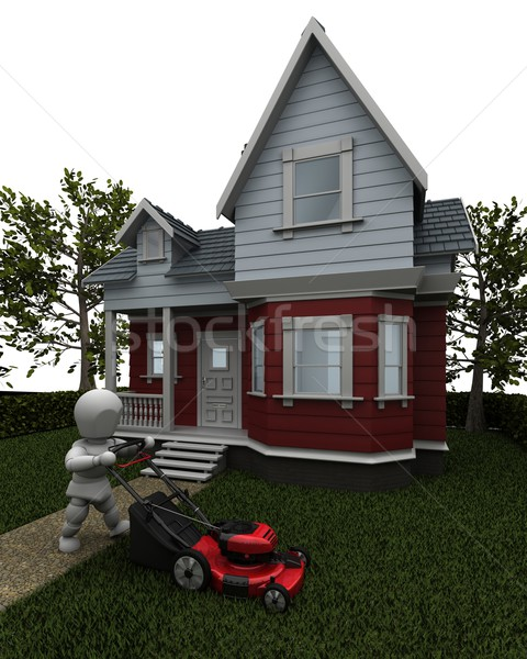 Man Mowing the Lawn Stock photo © kjpargeter