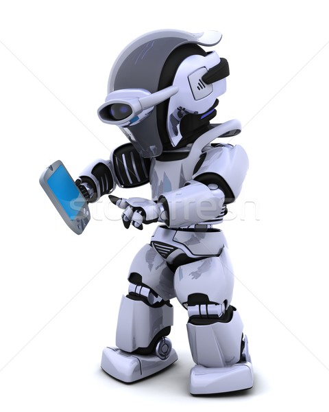 robot with palm pilot Stock photo © kjpargeter
