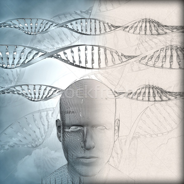 3D medical background with DNA strands and male face with some i Stock photo © kjpargeter