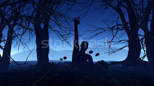 3D halloween zombie uit grond 3d render Stockfoto © kjpargeter