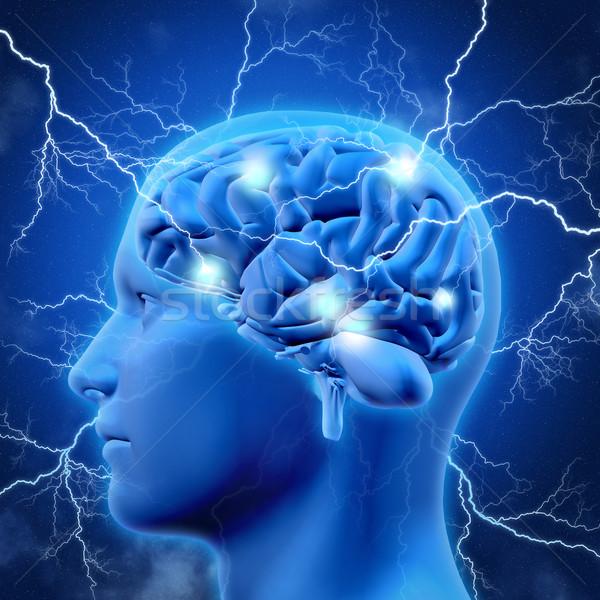 3D mężczyzna głowie mózgu błyskawica 3d Zdjęcia stock © kjpargeter
