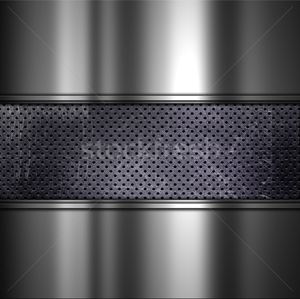 Grunge background with perforated dirty metal and brushed alumin Stock photo © kjpargeter
