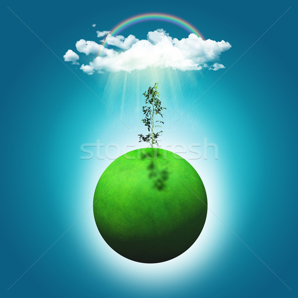 3D render of a grassy globe with a seedling, rainbow and rainclo Stock photo © kjpargeter