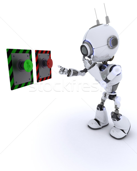 Robot choosing which button to push Stock photo © kjpargeter