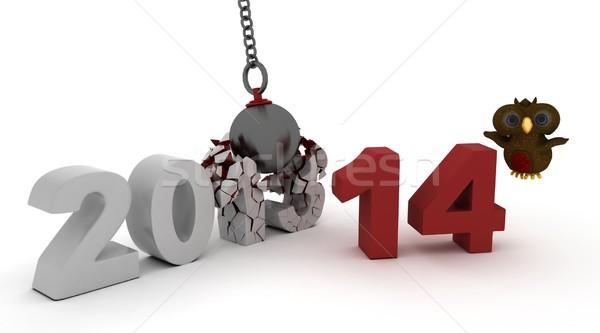 2014 Новый год мяча 3d визуализации Сток-фото © kjpargeter