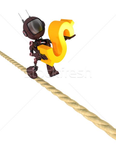 Android stretto corda rendering 3d uomo finanziare Foto d'archivio © kjpargeter