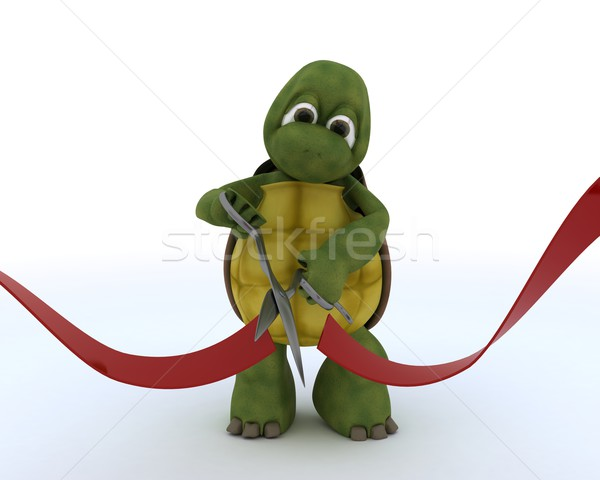 tortoise cutting a red ribbon Stock photo © kjpargeter