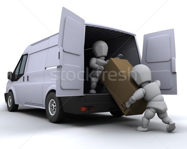 Eltávolítás férfiak furgon 3d render ipar szolgáltatás Stock fotó © kjpargeter