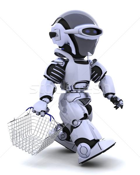 Stockfoto: Robot · winkelen · 3d · render · zak · markt