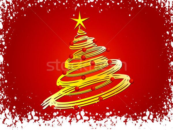 Photo stock: Noël · arbre · résumé · neige · célébration · flocon · de · neige
