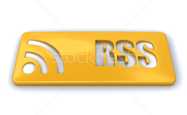 Rss シンボル 3dのレンダリング 通信 ロゴ ウェブサイト ストックフォト © kjpargeter