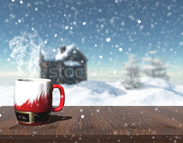 3D Christmas mug on a table with defocussed image of snowy house Stock photo © kjpargeter