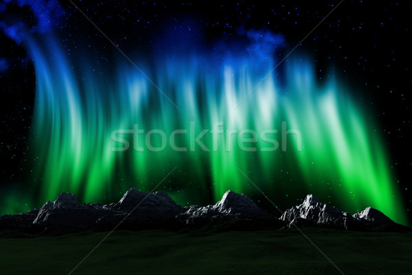Mountain landscape with Northern lights sky Stock photo © kjpargeter