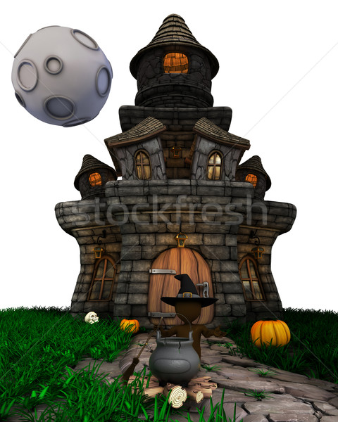 3D Morph Man Witch with haunted house  Stock photo © kjpargeter