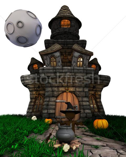 3D férfi boszorkány kisértetjárta ház 3d render Stock fotó © kjpargeter