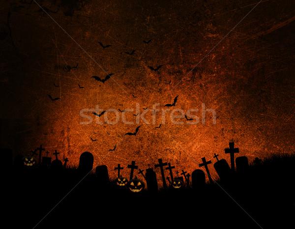 Гранж Хэллоуин темно эффект дерево облака Сток-фото © kjpargeter