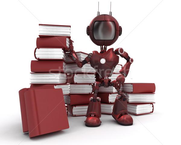 Android boglya könyvek 3d render iskola oktatás Stock fotó © kjpargeter