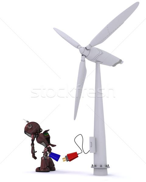Android szélturbina 3d render férfi erő elektromosság Stock fotó © kjpargeter